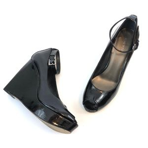 Nine West Patent Leather Open Toed Wedge
